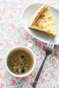 rhubarb cake, coffee, studio
